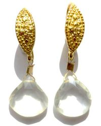 Radha - Yellow Gold Plated Lemon Drops Earrings - Lyst