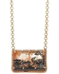Susan Wheeler Design - Black Diamond Rose Gold Dendritic Quartz Necklace - Lyst