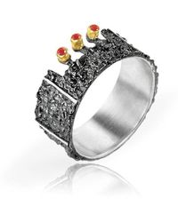 Apostolos Jewellery - The Earth Song 3 Oxidised Silver Ring - Lyst