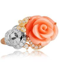 Jooal - Coral Ring In White And Rose Gold With Coral And Diamonds - Lyst