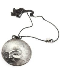 ileava jewelry - Oxidised Sterling Silver Full Moon Necklace | - Lyst