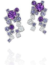 Madstone Design - Melting Ice Cluster Purple Sapphire Drop Earrings - Lyst