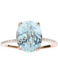 Oh my Christine Jewelry - Oval Aquamarine Ring With Diamond Band - Lyst