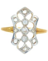 Alexis Danielle Jewelry | Antique Art Deco Diamond And Platinum 18kt Yellow Gold Ring | Lyst