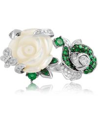 Jooal - Corsage Ring With Diamonds, Emeralds, And Mother Of Pearl - Lyst
