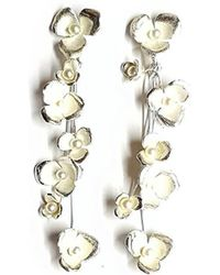 Andrew O Dell Jewellery - Sterling Silver & Pearl Blossom Drops - Lyst