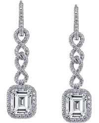 Harry Kotlar Pave Hoops with Cushion Cut diamond drops It0WxxNc