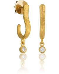 "Lika Behar Collection - Hammered Gold ""ephesus"" Hoop Earrings With Diamonds - Lyst"