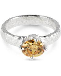 Paul Magen - Sterling Silver & Champagne Zirconia Teneo Ring | - Lyst