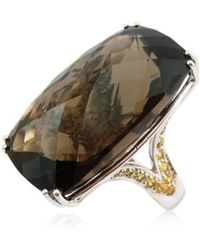 Cherie Thum - Fire And Ice Rectangular Cushion Smoky Quartz Ring - Lyst