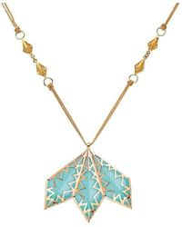 Mimata - Moon - Pink Gold Necklace And Chalcedony - Lyst