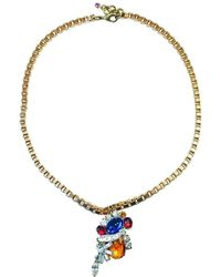 FUCHSIA by Izumi Tahara   Orange Czech Button And Rhinestone Pendant Necklace   Lyst
