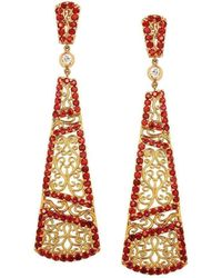 """Dallas Prince Designs - """"trellis Vine"""" Earring With Red Sapphires And Diamonds - Lyst"""