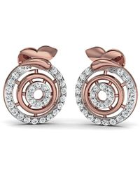 Diamoire Jewels Hand carved 14kt Rose Gold and 1mm Diamond Pave Earrings BDCbCN