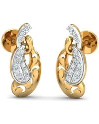 Diamoire Jewels 18kt Yellow Gold 0.18ct Pave Diamond Infinity Earrings III 0Lm5iJPTn