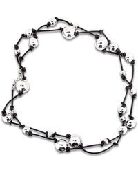 Will Bishop - Sterling Silver Beads On Leather Necklace - Lyst