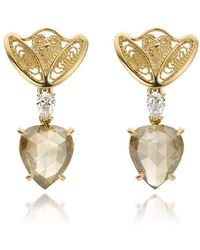 AMMA Jewelry - 18kt Gold Filigree Amour En Cage Earrings With Pear Shaped Diamonds - Lyst