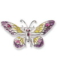 Nicole Barr - Silver Butterfly Ruby And Rhodolite Brooch - Lyst