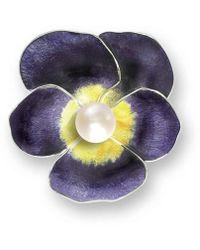 Nicole Barr - Silver Pansy Purple Brooch - Lyst