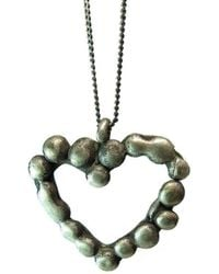 Private Opening - Melting Heart Granulated Oxidized Silver Heart Pendant - Lyst