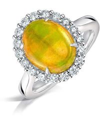 Clearwater Diamonds - Ethiopian Opal And Diamond Cluster Ring - Lyst