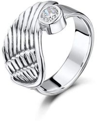 Becky Rowe - Sterling Silver & Cubic Zirconia Angel Wing Ring | - Lyst