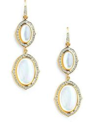 Syna 18kt Moon Quartz & Emerald Earrings With Diamonds KT4Ek