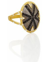 Freida Rothman - Black Stone Striped Cocktail Ring - Lyst