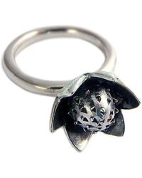 Charlotte Cornelius - Silver Succulent Stacking Flower Ring - Lyst