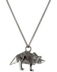 Origami Jewellery Black Silver Mini Triceratop Origami Necklace lP9ubQhZ