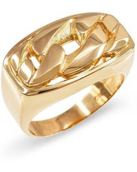 QP Jewellers - Cuban Link Twisted Rope Ring In 9kt Gold - Lyst
