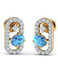 Diamoire Jewels Butterfly Aquamarine and Diamond Earrings in 18kt Yellow Gold 8doMxNOqS