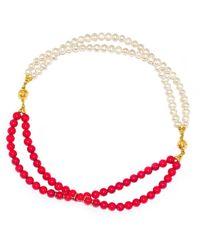 Regenz - Transformer Coral And Pearl Bracelet-necklace - Lyst