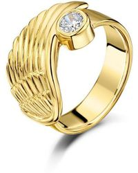 Becky Rowe - Yellow Gold & Cubic Zirconia Angel Wing Ring | - Lyst