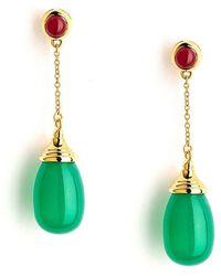 Syna - 18kt Green Chalcedony & Ruby Earrings - Lyst