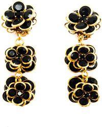 Pats Jewelry - Brass & Black Glass Camellia Pompom - Lyst