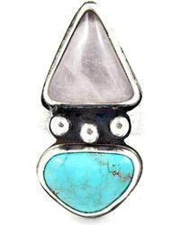 Gemspell Jewellery - Dual Rose Quartz Turquoise Ring - Lyst