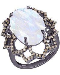 Arya Esha - White Gold, Moonstone & Diamond Ring | - Lyst
