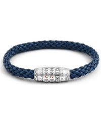 Tateossian - Silver & Blue Leather Combination Lock 777 Bracelet - Lyst