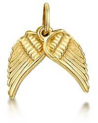 Becky Rowe - Yellow Gold Angel Wings Small Pendant Charm | - Lyst