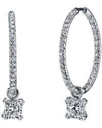 Harry Kotlar - Pave Hoops With Cushion Cut Diamond Drops - Lyst