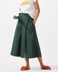 Jigsaw - Cotton Sateen Wrap Midi Skirt - Lyst