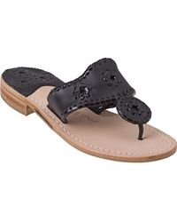 Jack Rogers - Palm Beach Thong Sandal Black Leather - Lyst