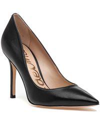 9da1583bdff7 Lyst - Sam Edelman Hazel Nude Patent Leather Pump in Black