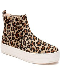 a8098d15f8d9 Michael Kors Amanda Leopard Calf Hair And Mesh Sneaker in Black - Lyst