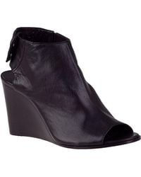 275 Central - Open Toe Wedge Bootie Black Leather - Lyst