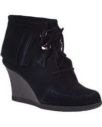 Minnetonka - Lace-up Fringe Ankle Boot Black Suede - Lyst