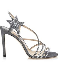 Jimmy Choo - Lynn 100 Anthracite Shimmer Suede Sandals With Hotfix Crystals - Lyst