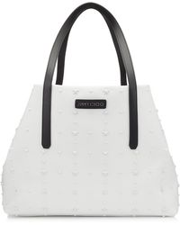 Jimmy Choo Pimlico/s White Satin Leather Tote Bag With Mixed Stars White One Size