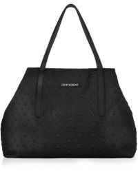 Jimmy Choo - Pimlico Black Grainy Leather Tote Bag With Embossed Stars - Lyst